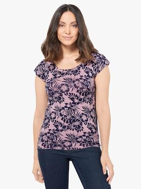 Pullover - roze/nachtblauw bedrukt