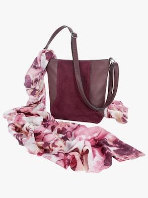 Handväska med scarf - Blommor