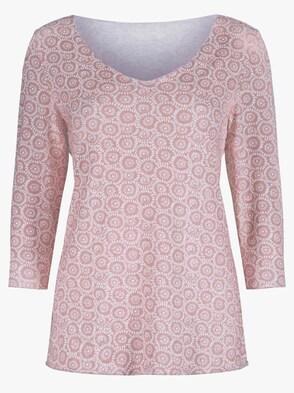 Shirt - weiß-rosé-bedruckt