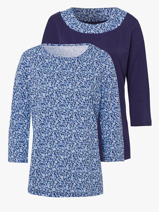 Trička v balení po 2 kusech - noční modrá + noční modrá-potisk
