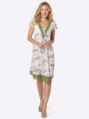 Kleid - ecru-grün-gemustert