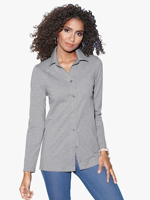 Jersey-Bluse - grau-meliert