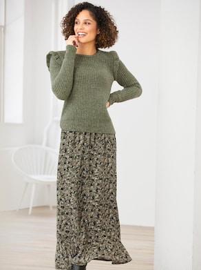 Linea Tesini Pullover - khaki-olive-meliert