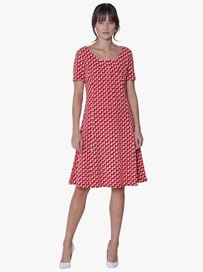 Jersey-Kleid - rot-bedruckt