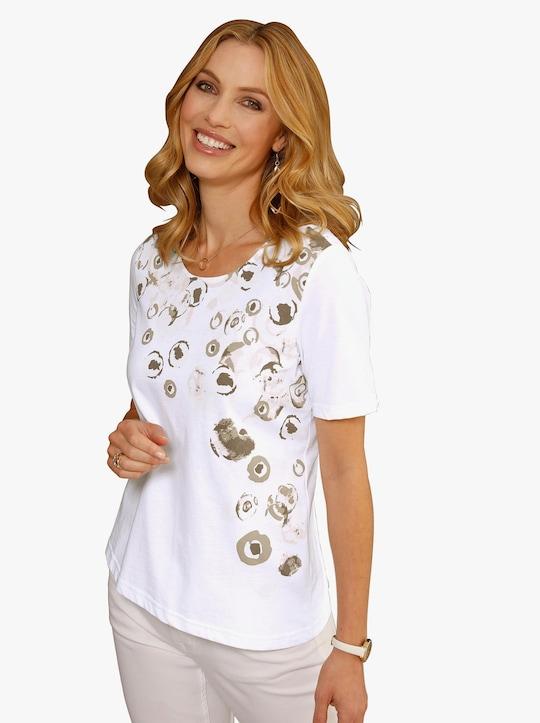 Shirt - donkertaupe gedessineerd