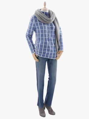 Pullover - jeansblau-kariert