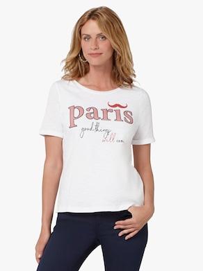 Shirt - weiß-rot-bedruckt