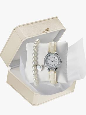 Armbanduhr und Armband - beige