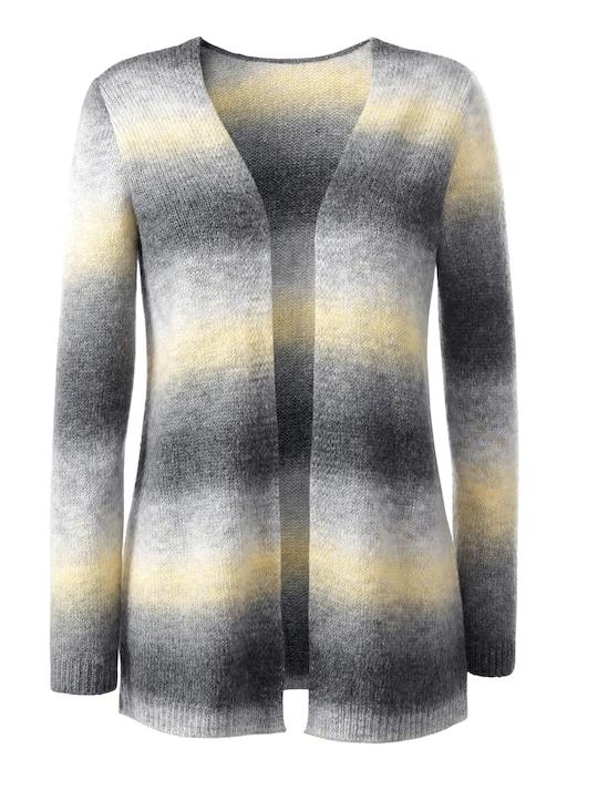 Long-Strickjacke - grau-gelb