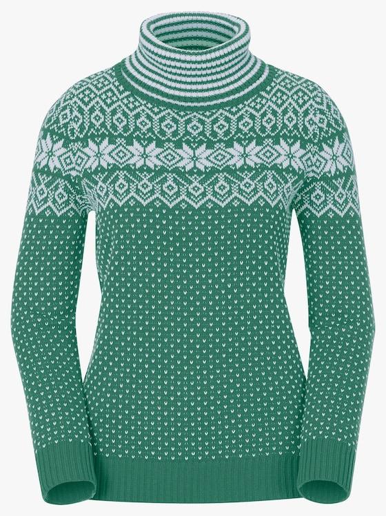 Pullover - grün-ecru-gemustert
