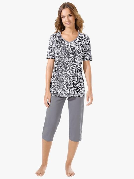 Capri-Schlafanzug - weiß-grau-bedruckt