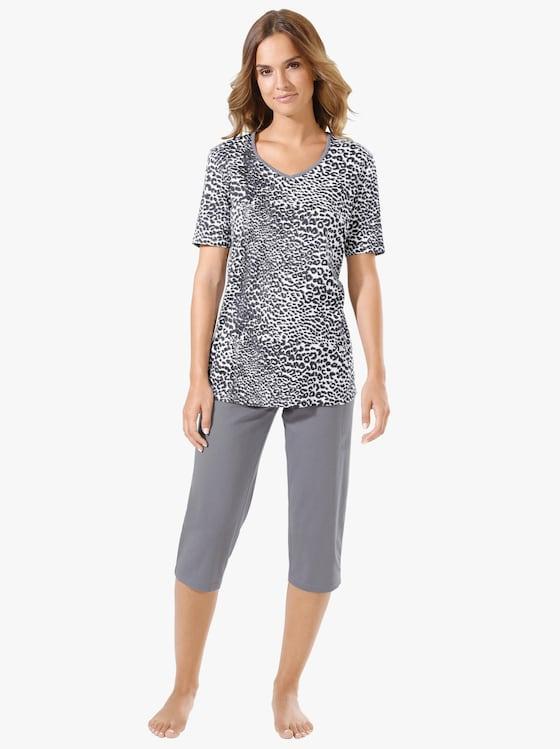 Capri-pyjama - wit/grijs bedrukt