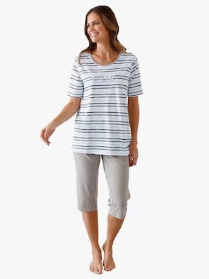 Pyžamo s capri nohavicami - sivá potlač