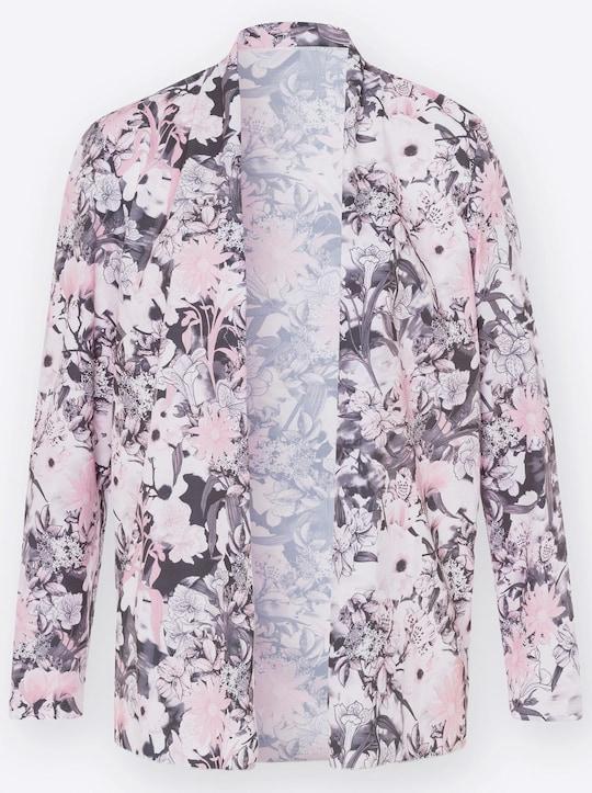Blusenjacke - rosé-grau-bedruckt