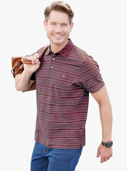 Poloshirt - burgund-gestreift
