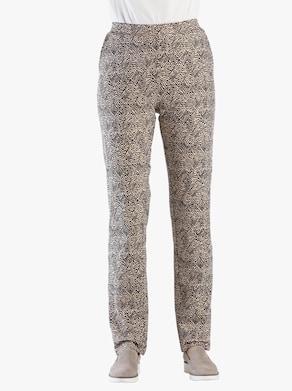 Kalhoty - béžová-černá-potisk