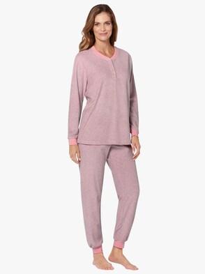 Schlafanzug - rosé-anthrazit-geringelt
