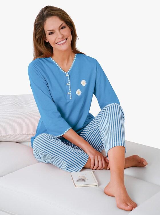 Ascafa Schlafanzug - blau-gestreift
