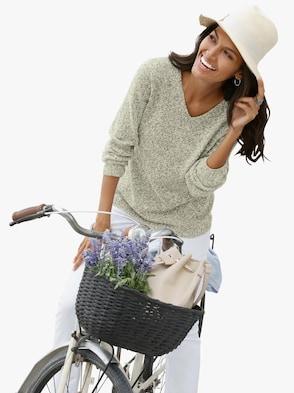 Pullover - grün-meliert