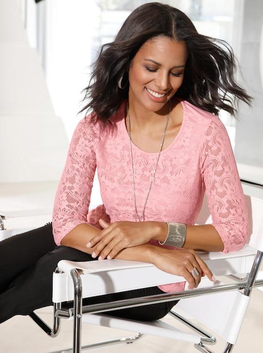 Kanten shirt - rozenkwarts