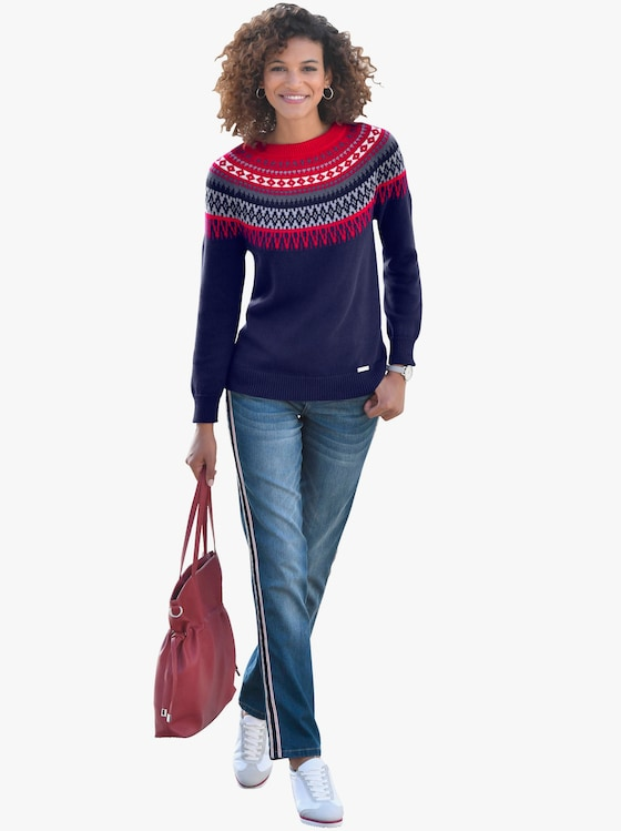 Collection L Pullover - marine-rot-gemustert
