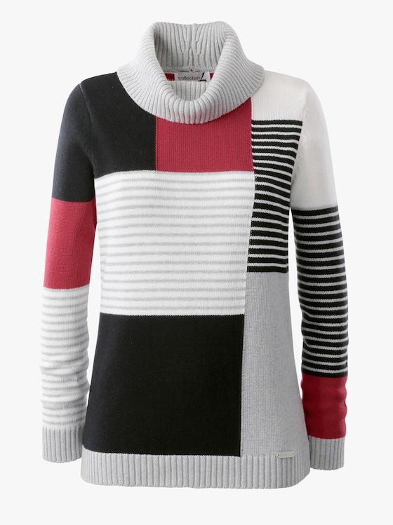 Pullover - ecru-rot-gemustert