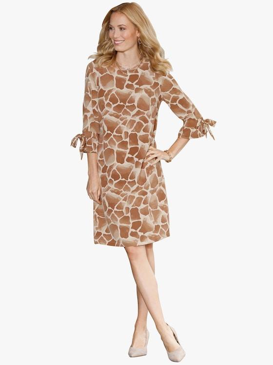 Kleid - cognac-gemustert
