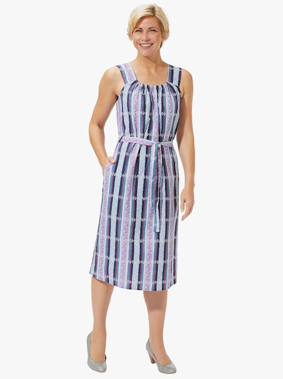 Kleid - grau-fuchsia-bedruckt
