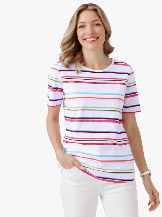 Tričko - bílá-fuchsiová-potisk