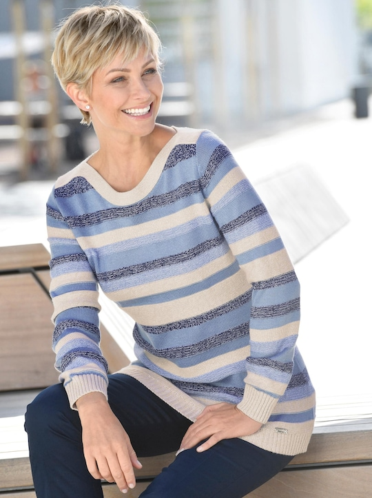 Pullover - bleu-stein-geringelt