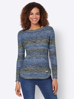 Pullover - jeansblauw/rietgroen gemêleerd