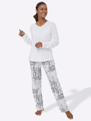 Schlafanzug - weiß-schwarz