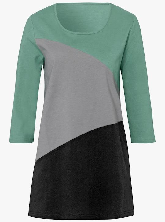Dlouhé tričko - mátová-šedá-vzor