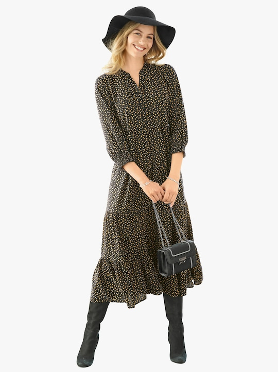 Šaty s potlačou - Čierna + okrová potlač