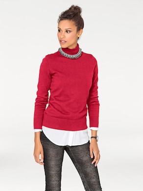 Linea Tesini Rollkragen-Pullover - rot
