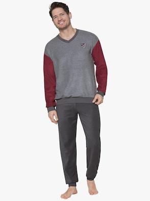 Schlafanzug - grau-rot