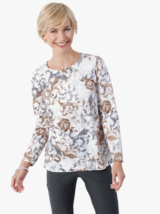 Shirt - taupe gedessineerd