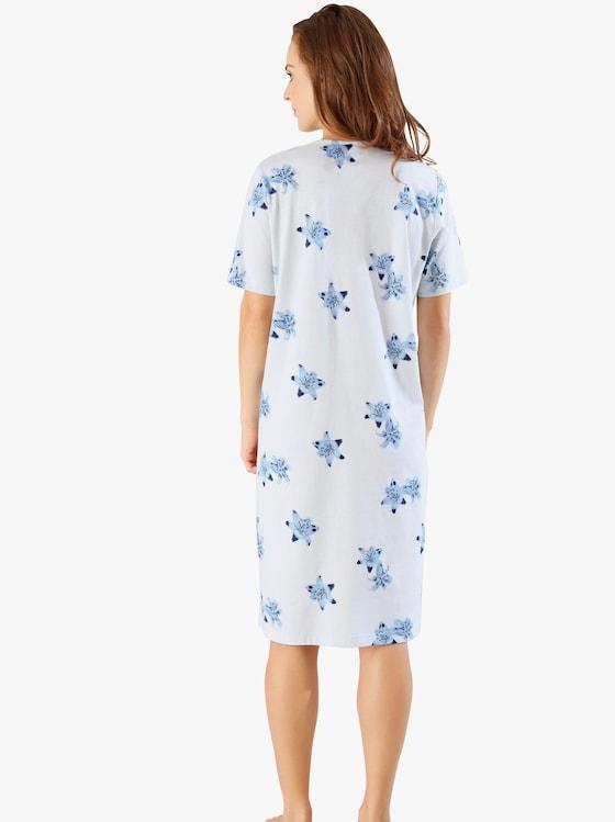 Nachthemd - lichtblauw geprint