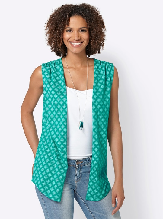 Shirtweste - smaragd-gemustert