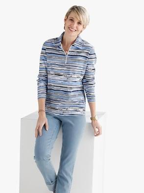 Poloshirt - hemelsblauw/grijs bedrukt