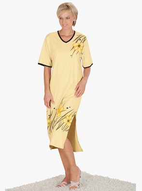 Nachthemd - geel geprint