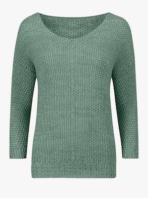 Pullover - grün-weiß