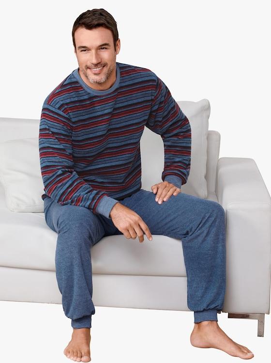 Normann Schlafanzug - blau-geringelt