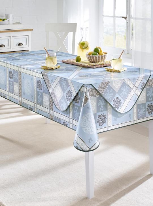 Tischdecke - blau-gemustert