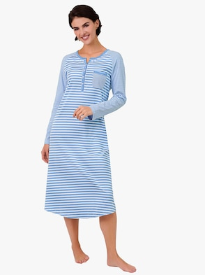 Nachthemd - hellblau-gestreift
