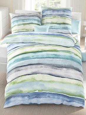 Bettwäsche - blau-gestreift