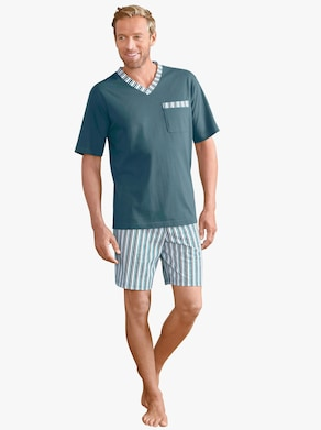 Kortärmad pyjamas - grön, randig