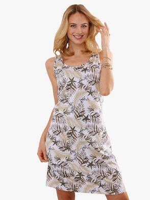 Letné šaty - Béžovo-hnedé pruhovanie