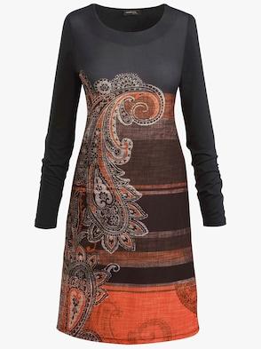 Kleid - schwarz-orange-gemustert