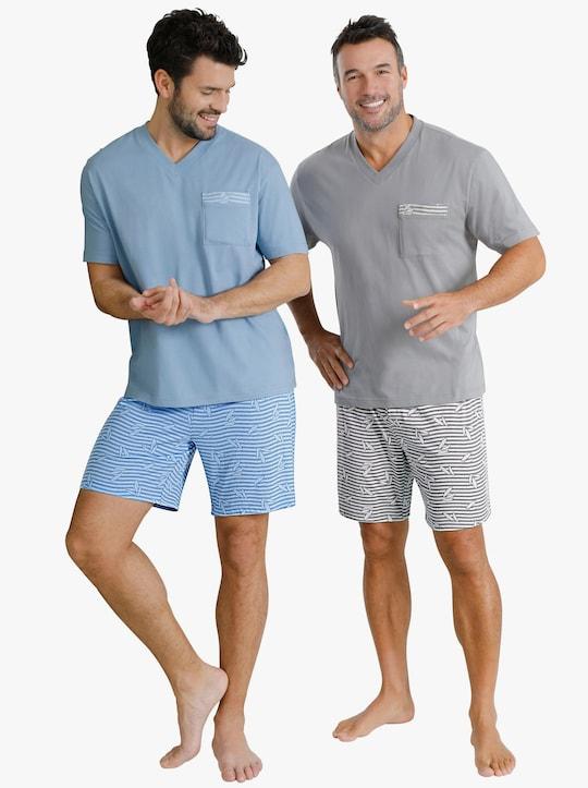 wäschepur Shorty's - blauw + grijs